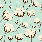 Cotton flowers seamless pattern on blue background. White cotton branches.vector illustration. Design for fabric and decor Royalty Free Stock Photo