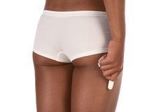 cotton hand hold hygienic tampon white woman Στοκ εικόνα με δικαίωμα ελεύθερης χρήσης