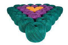 Cotton heart. Colourful cotton heart Stock Photos