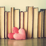 Cotton Hearts and books Royalty Free Stock Image