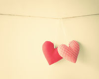 Cotton Hearts Royalty Free Stock Images