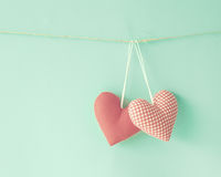 Cotton Hearts Stock Photography