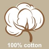 Cotton icon. 100% cotton icon on a beige background Royalty Free Stock Images