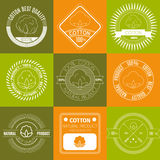 Cotton icons or  labels set. Royalty Free Stock Images