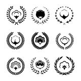 Cotton icons and logo set with circular foliate. Stock Photography