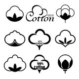 Vector icons set indicating the cotton mark or textile products on white background Stock Image