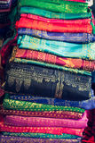 Cotton khmer cloths for sale at a market in siem reap,in cambodi Royalty Free Stock Images
