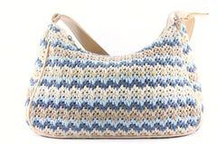 Cotton knit handbag. Royalty Free Stock Photos