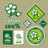 Cotton label. Set oа labels for cotton clothes Royalty Free Stock Image