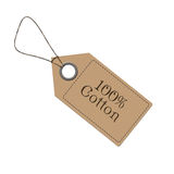 100% Cotton. Label with an inscription on a white background Stock Images