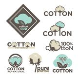 Cotton labels or logo for pure 100 percent natural cotton textile tags. Vector isolated icons set for clothing label or eco fabric design template of leaf stock illustration