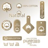 Cotton labels and tags. Set of Cotton labels and tags royalty free illustration