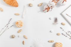Cotton, lavender, cakes and nuts on a light background. Top view stock photos