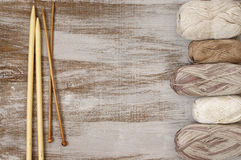 Cotton and linen yarn with needles Royalty Free Stock Photography