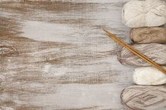 Cotton and linen yarn with needles Royalty Free Stock Image