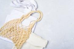 Cotton and Mesh Bags, Zero Waste Concept, Eco Friendly Shopping Bags stock photos