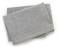 Cotton napkin. Folded grey cotton napkin isolated on white background top view Stock Photography