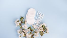 Cotton pads, top view personal care products on blue background. copy space stock photos