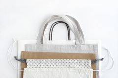 Shopping bags on white background.Cotton and paper bags for free plastic shopping. stock photos