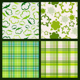 Cotton plant floral and green plaid background. Vector seamless. Pattern set Stock Photo