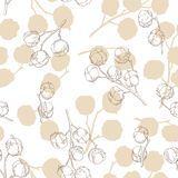 Cotton plant graphic beige color seamless pattern background sketch illustration vector. Cotton plant graphic beige color seamless pattern background sketch Stock Photos
