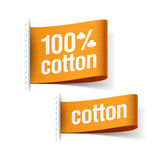 100% cotton product. Clothing labels Stock Photography