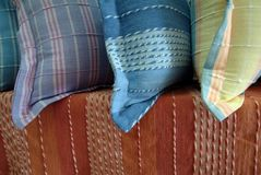 Cotton Products. Colourful handcrafted pillow cases or covers in the Northern of Thailand Stock Image