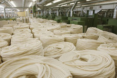 Cotton Roll At Spinning Factory. View of cotton rolls in row at spinning factory Stock Images