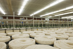 Cotton Roll At Spinning Factory Stock Photos