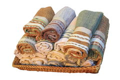 Cotton rolls in basket Royalty Free Stock Images