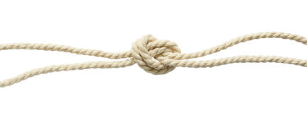Cotton ropes knot Stock Image