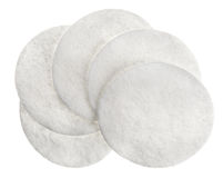 Cotton round cosmetic pads Royalty Free Stock Images