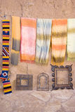 Cotton scarfs. To sell at a little outside store, Morocco Royalty Free Stock Photos