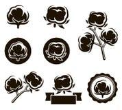 Cotton set. Vector. Illustration style, natural, element, label stock illustration