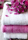 Cotton Spa Towels with Flowers Royalty Free Stock Photography