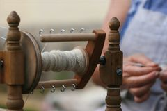 Cotton-spinner in action Stock Photos