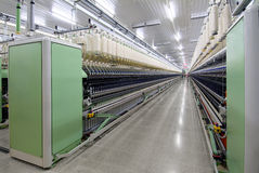 Cotton Spinning Machine_3. Deep perspective of textile spinning machine in factory Stock Image