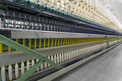 Cotton Spinning Machine_4. Factory Cotton Spinning Deep perspective Stock Photos