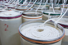 Cotton spinning production workshop closeup Stock Photography