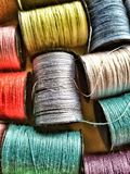 Cotton spools. Close view of cotton spools Royalty Free Stock Photo
