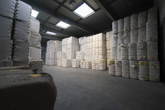 Cotton Stacked In Spinning Factory. View of cotton stacked in spinning factory Royalty Free Stock Photos