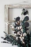 Cotton Stem and Eucalyptus Arrangement. Eucalyptus and cotton stem arrangement in front of an old farmhouse window royalty free stock images