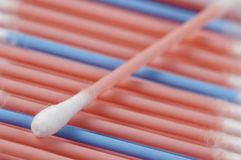 Cotton swabs. In a box, macro shot, local focus Stock Image