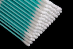 Cotton swabs closeup on a black background Royalty Free Stock Photos
