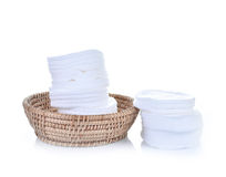 Cotton swabs sheets in basket isolated  white background Stock Image