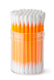 Cotton swabs in transparent plastic box Stock Image