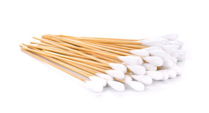 Cotton swabs on white background Stock Photos
