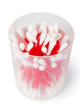 Cotton swabs on white background Royalty Free Stock Images