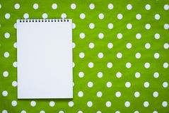 Cotton tablecloth and notepad Royalty Free Stock Image