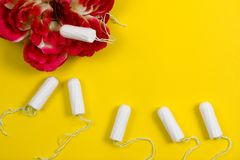 Cotton tampon. Womens comfort, hygiene and protection. Woman`s hygiene and health. White tampon on background. Cotton tampon. Womens comfort, hygiene and royalty free stock photos